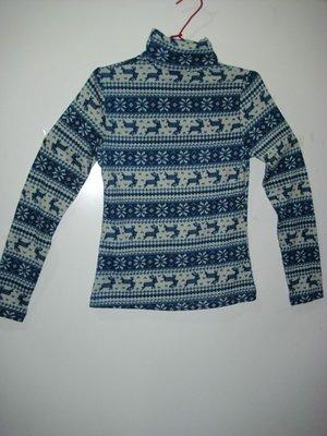 潮流帥衣 韓風藍色麋鹿流行款緊身設計款高領造型長袖針織衫  衣長55公分效字櫃U 台北市