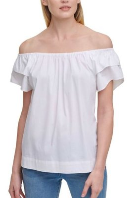 DKNY Solid Off-The-Shoulder Ruffled-Sleeve Top 5/2止