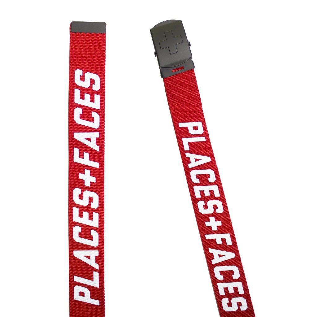 Places + Faces Logo Belt 十字金屬扣紅色3M帆布皮帶腰帶P+F經典必備單品 現貨【BoXhit】
