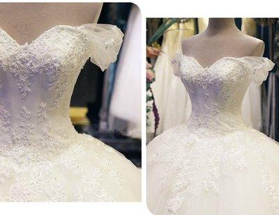 *全新~台中sasa婚紗禮服~一字肩拖尾設計婚紗 白紗~