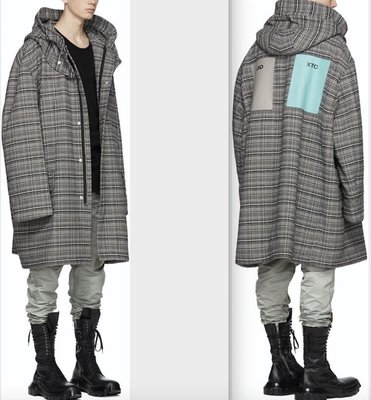 Raf Simons Striped Padded Parka 18AW 格紋 大衣 Checked Hooded Coat Size 48