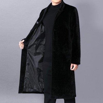 男西裝外套外貿男士休閑風衣仿水貂絨立領單排扣大衣長款男風衣FY1469風衣