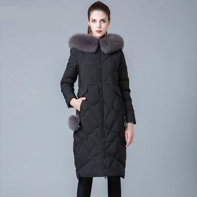 羽絨 外套 連帽夾克-狐狸毛領純色修身長版女外套3色73um3[獨家進口][米蘭精品]