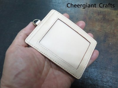駝色雙識別証皮套名片夾三合一dual identity card holster & business card holder