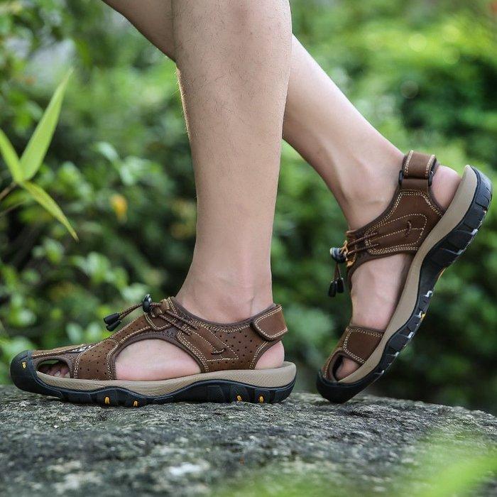 【星推薦】夏季牛皮休閒運動男款涼鞋真皮男大碼沙灘鞋男士越南男鞋時尚戶外休閒