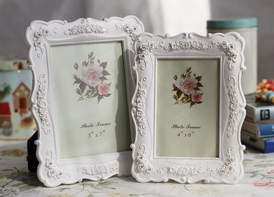 店長嚴選白色田園相框組合玫瑰相架創意照片框擺臺A01