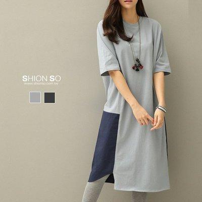 享瘦衣身中大尺碼【B1136】雙色拼接下擺不規則長版上衣