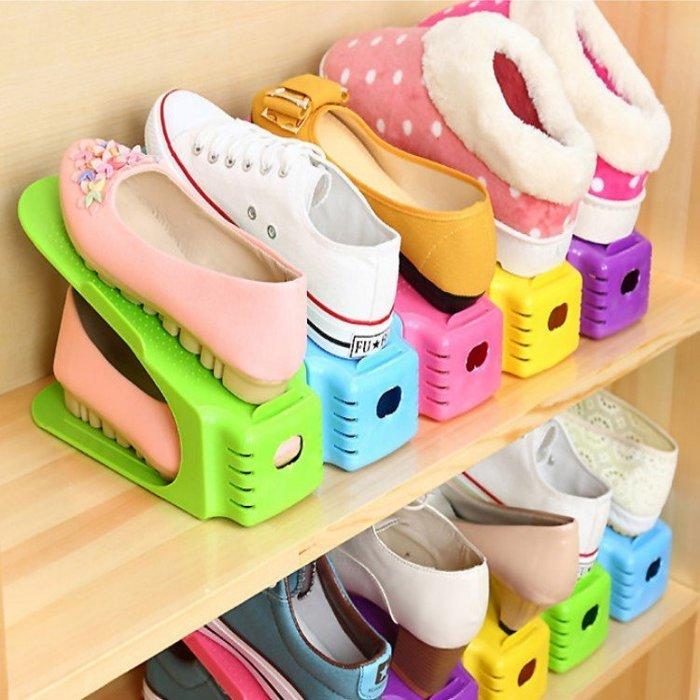 強檔回饋,售完即停(買10個以上,每個19元)北歐風雙層立體式收納鞋架 鞋櫃鞋子收納【SPA012】收納女王