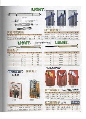 ㊣宇慶S舖㊣ LIGHT 鐘錶起子 NDV-1 一字 0.8m/m其他規格歡迎洽詢