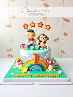 【Connie's Home Sweets】猴年BB生日蛋糕 Baby Boy x Monkey Birthday Cake 100 Days Cake 馬騮 (可改雞仔)