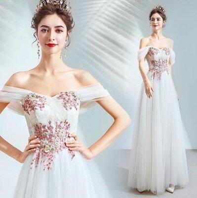 愛丫&一字領露肩奶白色新娘禮服年會活動晚宴舞台演出禮服伴娘服結婚禮服
