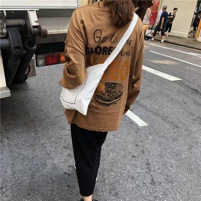 早春款款女裝時尚背后字母印花寬松T恤女圓領BF上衣設計感小眾潮
