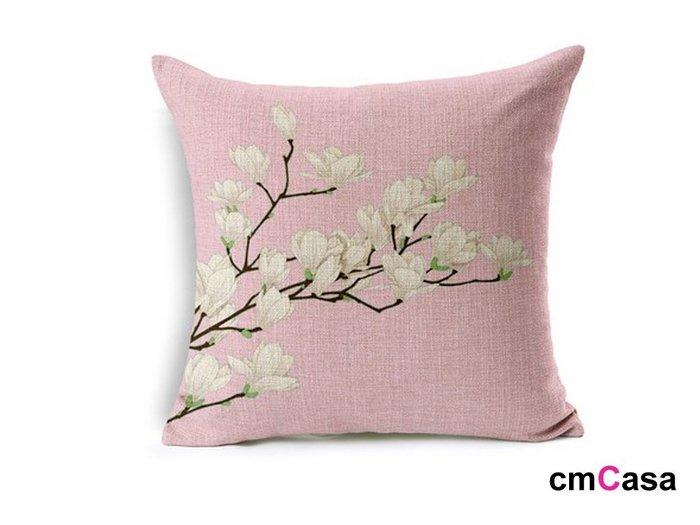 = cmCasa = [4277]日式美學新設計 木棉花開抱枕套 雙色人文復古新發行