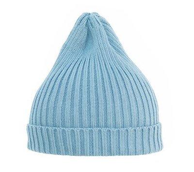 =EYe選物=俄羅斯設計師 水藍  街頭時尚針織 反摺毛帽