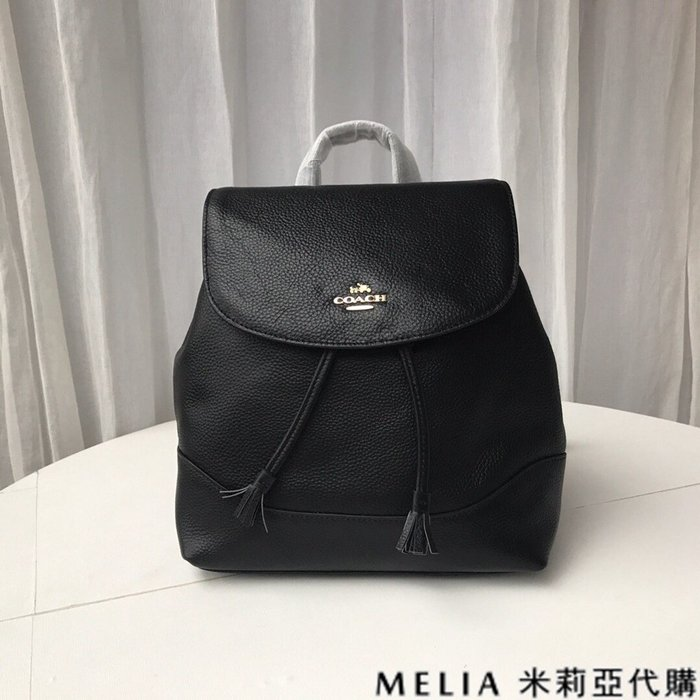 Melia 米莉亞代購 COACH 2019ss F72645 女士款 雙肩包 後背包 抽繩款 休閒旅行包 黑色