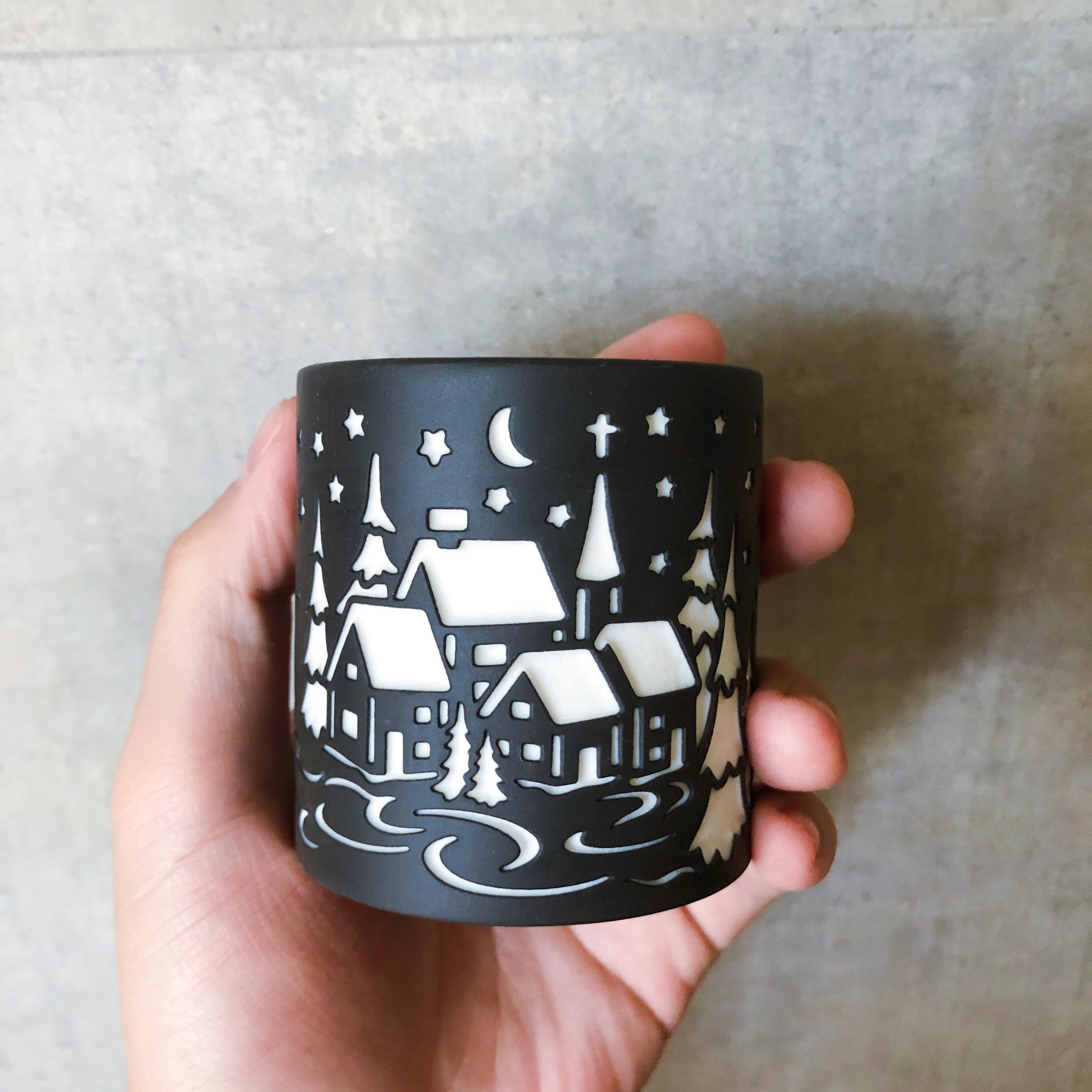 北歐鏤雕雙色陶瓷燭杯+LED蠟燭燈