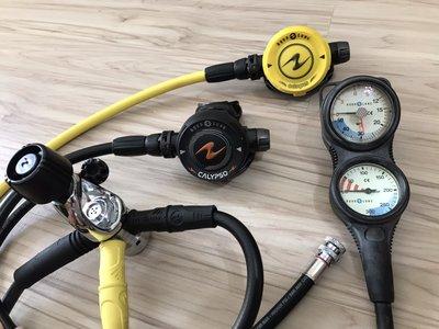 AQUALUNG CALYPSO 水精靈 調節器組 AQUA LUNG 三用錶 近全新 潛水調節器 一年保固