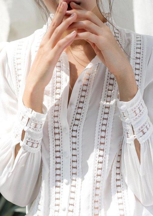 JU 法式宮廷風 蕾絲拼接 16姆米 真絲上衣 長袖襯衫 白色/焦糖色
