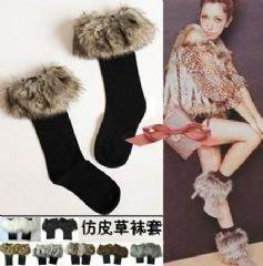 仿皮草毛毛滾邊襪 毛毛靴套襪子 防寒保暖百搭時尚-艾發現