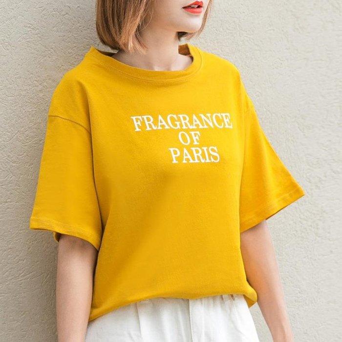 廠家~最低價孜索字母短袖T恤女2019夏裝新款韓版簡約百搭圓領打底上衣黃色T恤