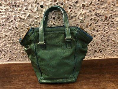 YSL綠色漆皮小手提包