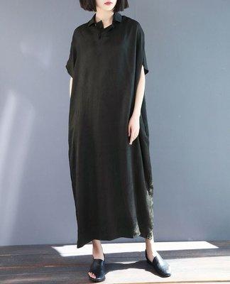 夏季設計款襯衫領半門襟顯瘦寬鬆銅氨絲連衣裙(老銀屋)