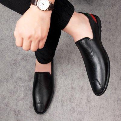 【時尚先生男裝】大碼男鞋春夏男鞋豆豆鞋休閑鞋低幫套腳真皮皮鞋一腳蹬大碼駕車鞋 2005240393