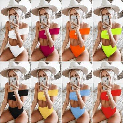 寶島小甜甜~Ms color fission irregular high-waisted bikini swimsuit pure