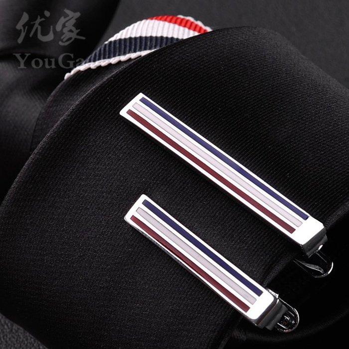 紅白藍三色標領夾短款TB銀領帶夾經典男士商務休閑領帶夾子#領結#配飾#領帶夾