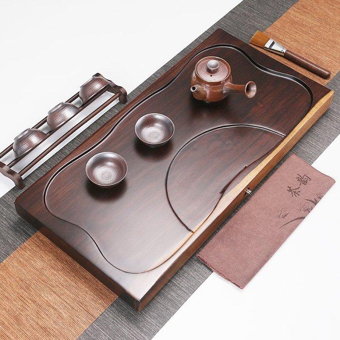 黑檀木茶盤實木 整塊原木茶盤 直角小號家用茶盤平板P1051