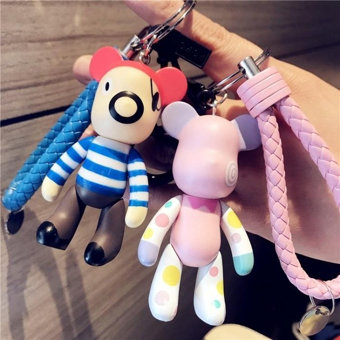 卡通韓國可愛女款汽車鑰匙扣情侶一對創意男鑰匙圈鏈公仔禮物掛件