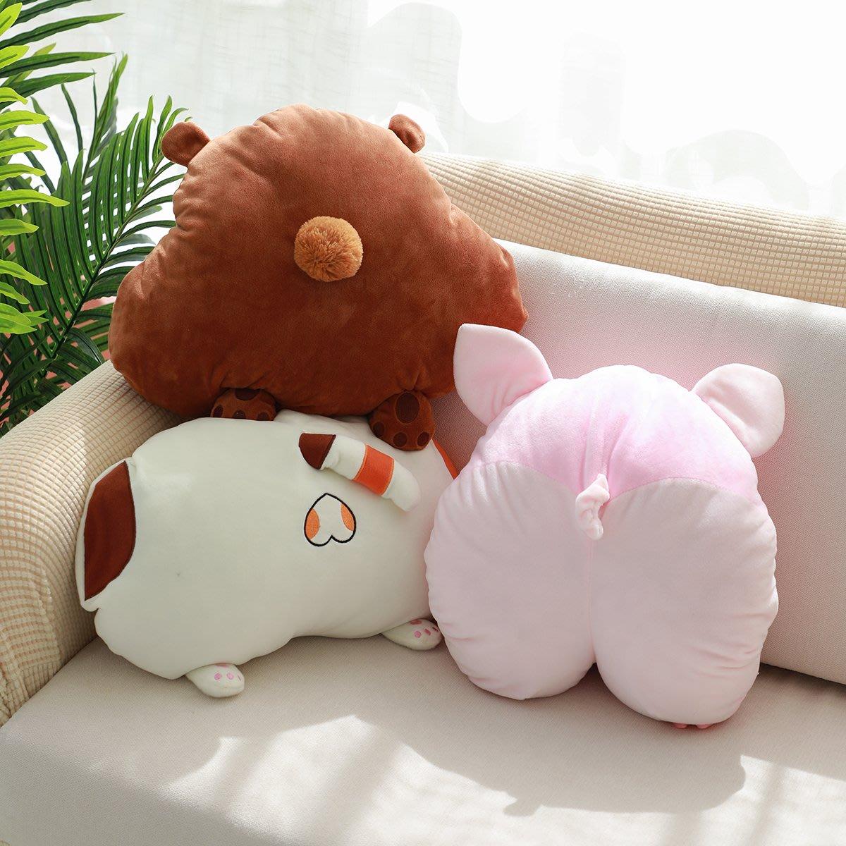 惡搞可愛豬屁股抱枕花貓PP小熊PP抱枕手捂可插手沙發靠墊