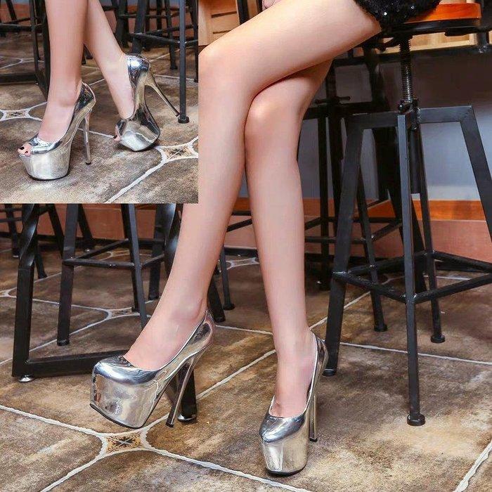 超高跟鞋 細跟圓頭防水台鱼嘴鞋凉鞋女 夜店性感16CM超高跟婚鞋