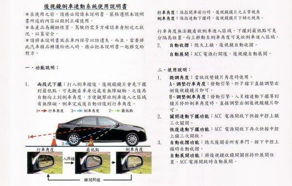 幸福車坊 2014 ALTIS 第三代最新版 後視鏡倒車連動系統 遙控折疊 二段式 右邊 倒車下擺