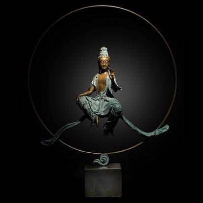 子問(師承林韋龍) 限量原作銅雕佛像~圓滿願 (觀音 觀世音菩薩) 關公  達摩 地藏王菩薩 普賢菩薩  文殊菩薩