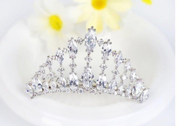 韓版高檔皇冠髮飾 電鍍白金 頂級告石晶鑽