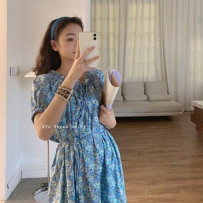 visa正韓專屬女裝TU 重工藝花朵型下擺法式連身裙小立領系帶甜美碎花裙子洋裝2021夏款