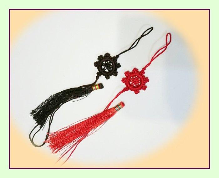 【大法輪結 +彩頭流蘇】3組/包,縫紉配件,中國結吊飾,復古裝飾,包包配飾,拉鍊把手。