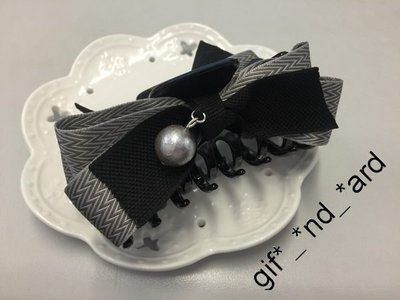 灰色絹布金屬色珍珠蝴蝶結長型抓夾 絲帶馬尾抓髮夾 髮繩 香蕉夾 Handmade頭飾 包郵