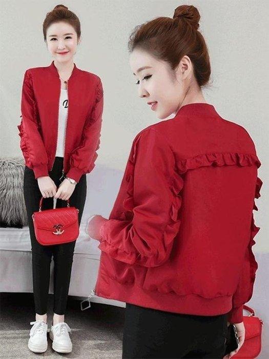 秋季外套—新款韓版百搭寬鬆上衣棒球服夾克薄短款小外套女春秋季長袖潮