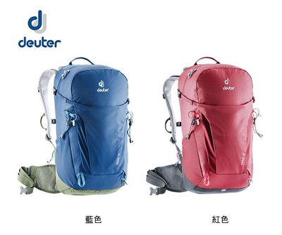 丹大戶外用品 德國【Deuter】Trail 輕量拔熱 透氣背包 26L 3440319 紅/藍