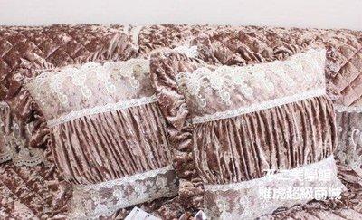 【格倫雅】^高檔奢華歐式布藝蕾絲抱枕套 沙發靠墊套 不含芯  咖啡色 g-l-y445151