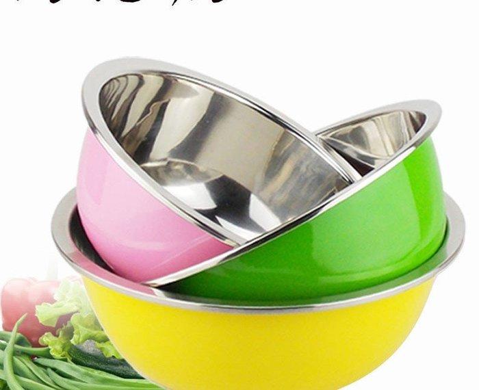 彩色加厚 三件套 3個裝 不銹鋼盆 打蛋盆 臉盆湯盆 淘米盆洗菜籃(套餐三)