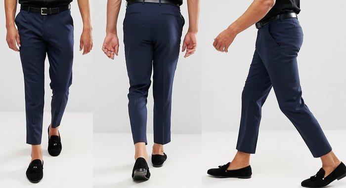 ◎美國代買◎ASOS經典海軍藍英倫紳士雅痞風七分顯廋藍色長褲~英倫街風~大尺碼