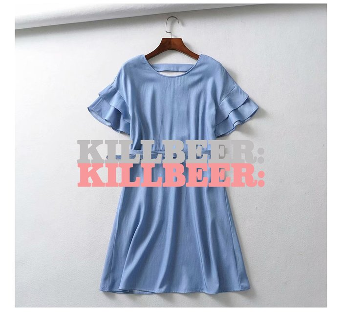 KillBeer:小姊姊等等我之 歐美復古氣質飄逸天絲牛仔感淺色水洗荷葉袖扣環收腰連身裙洋裝061711
