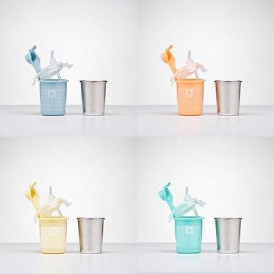 【魔法世界】美國 Kangovou 小袋鼠不鏽鋼安全兒童兩用杯 喝水杯 吸管杯 236ml