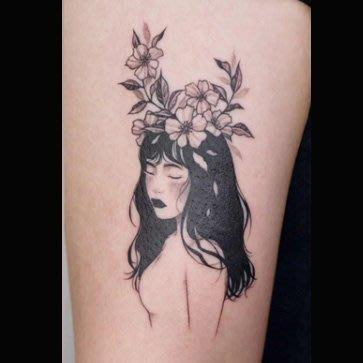 【萌古屋】花朵黑髮美少女15 - 逼真男女防水紋身貼紙刺青貼紙 K61