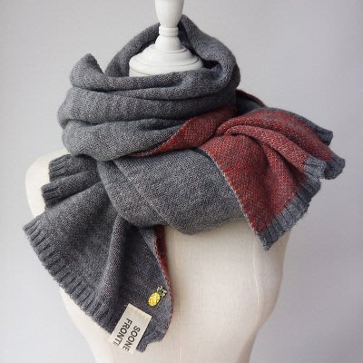 日本秋冬新款 超美圍巾 鳳梨圖案雙色拼接圍巾 柔軟 保暖 針織圍巾 日本圍巾