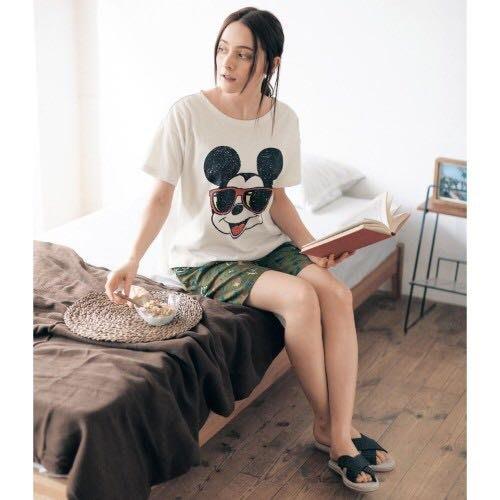 Co媽日本精品代購 預購 日本 正版 迪士尼 純棉 家居服  4L~6L大尺碼 睡衣 米奇 米妮 史迪奇 奇奇蒂蒂 熊暴