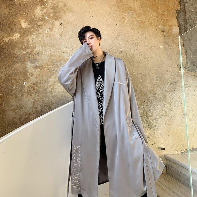 FINDSENSE 2019 秋冬上新 G19  潮流刺繡垂感風衣個性風衣長大衣男裝百搭寬鬆休閒外套